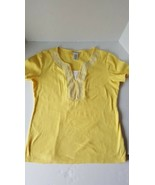 Rebecca Malone Womens Small Yellow  Embellished Top 100%Cotton Short Sleeve - $6.91