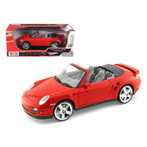 Porsche 911 (997) Turbo Convertible Red 1/18 Diecast Car Model by Motorm... - $51.90