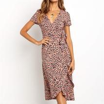 Summer Leopard Dress 2019 Women Long Wrap Beach Dress Sexy V-neck Short ... - $24.28+