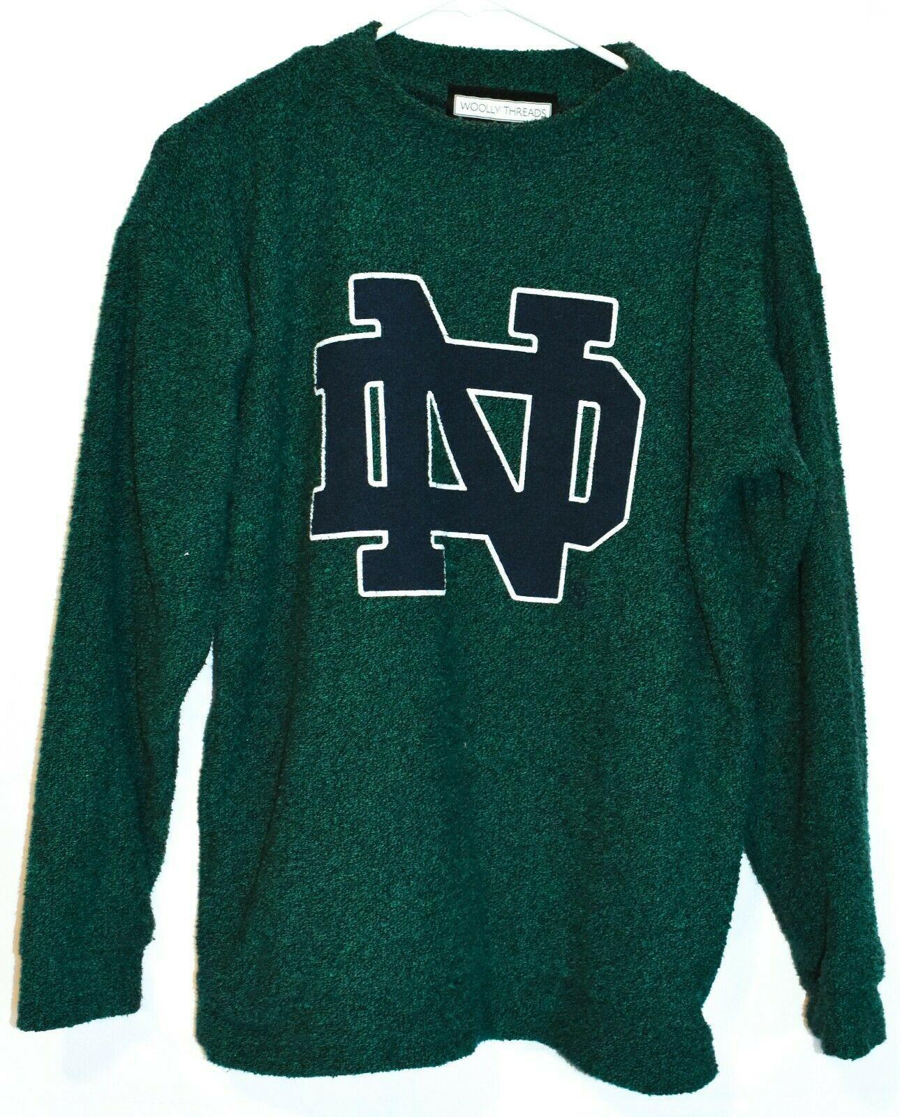 Woolly Threads Original Heather Green Navy Blue Notre Dame ND Sweatshirt Size S