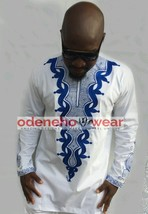 Odeneho Wear Men's White Polished Cotton Top/Blue Embroidery. African Clothing - $84.15+