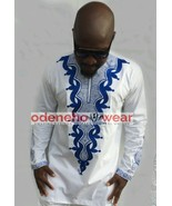 Odeneho Wear Men's White Polished Cotton Top/Blue Embroidery. African Cl... - $84.15+