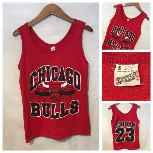 Vintage 80s Chicago Bulls S Screens Stars Red Tank Top Shirt A4905 - $63.91