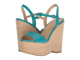 MICHAEL Michael Kors Fisher Wedge Sandals, Tile Blue Leather Multiple Sizes - $119.95