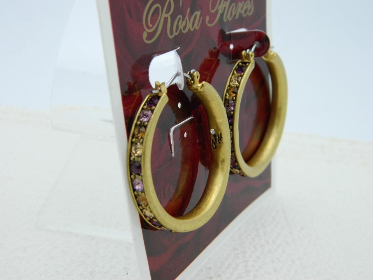 New Old Stock ROSA FLORES Purple Topaz Rhinestone Gold Tone Hoop Earrings