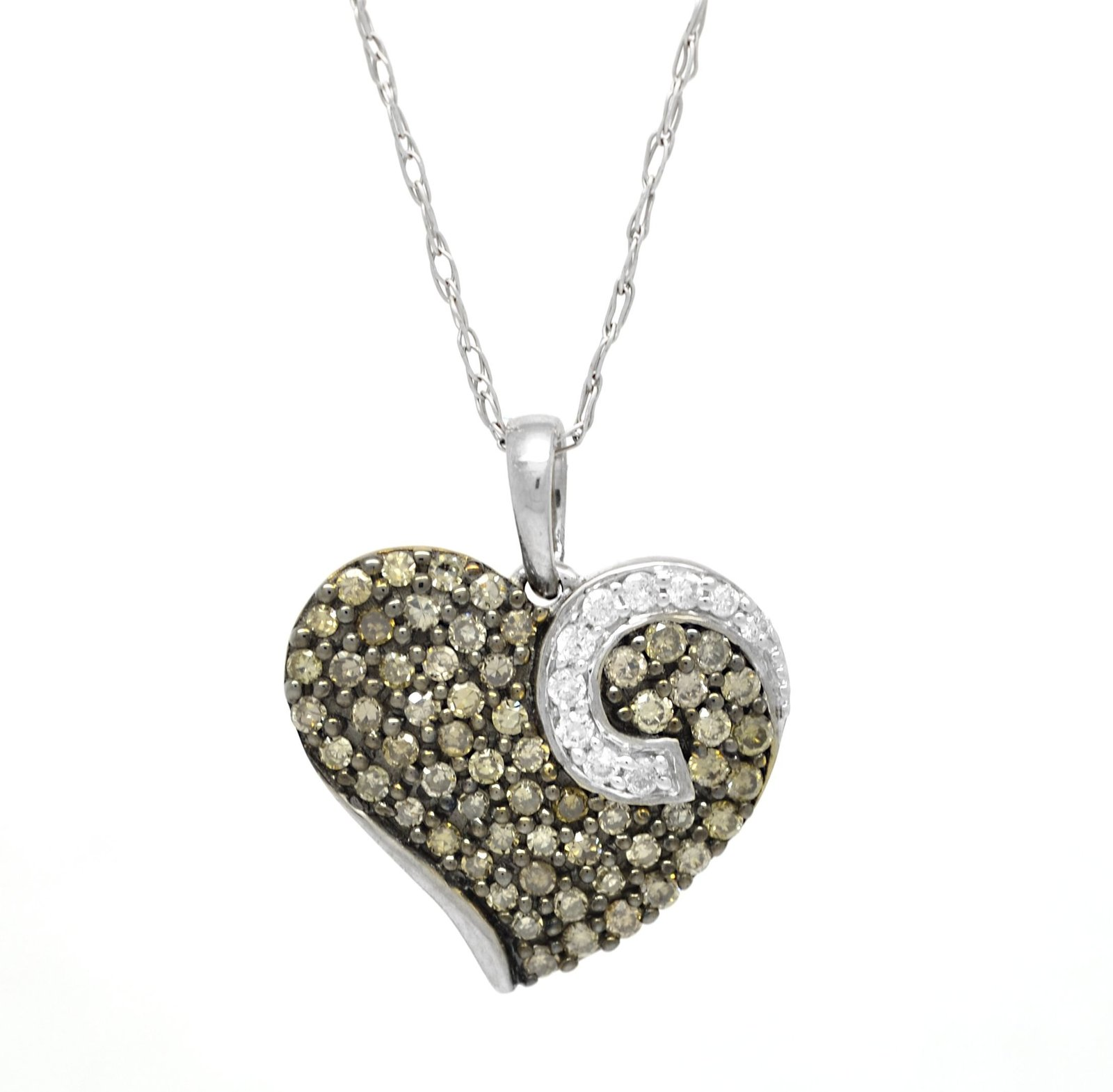 10K 0.50 Ct White Gold Brown Diamond Heart Pendant with 10 K Cable Chain 18 Inch