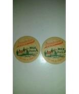 Vintage Cardboard Milk Buttons Tops Grandview Dairy Set of 2 - $12.99