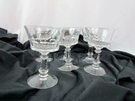 "Set of 5 Clear Glass Pillar Stem Water Goblets Glasses 6.5"" - $32.29"