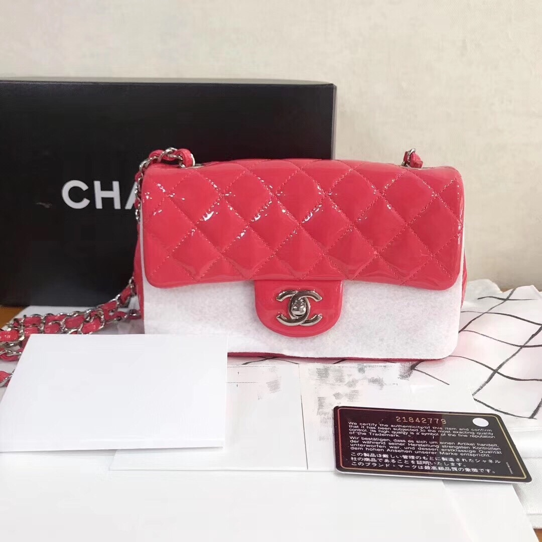 AUTH NEW Chanel RARE PINK Quilted PATENT LEATHER Large Mini 20CM Flap Bag SHW