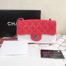 AUTH NEW Chanel RARE PINK Quilted PATENT LEATHER Large Mini 20CM Flap Bag SHW image 1