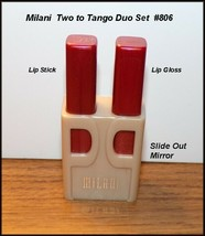 NEW Milani  Pretty Pair Lipstick, Lip Gloss & Mirror Duo Set   #806 Two ... - $8.75