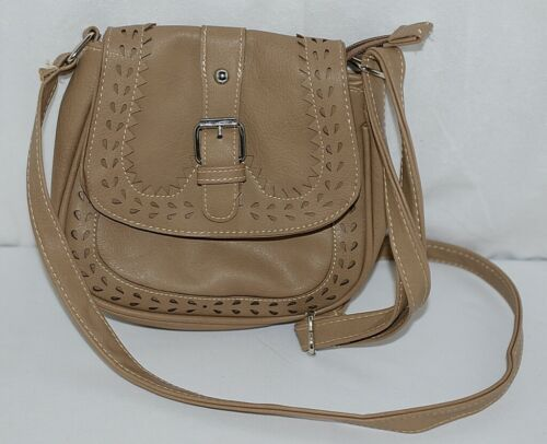 Non Branded Womens Tan Zipper Saddle Bag Purse With Adjustable Shoulder Strap