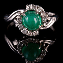 Vintage 1950's 14k White Gold Oval Cabochon Cut Emerald & Diamond Ring 1... - $2,380.00