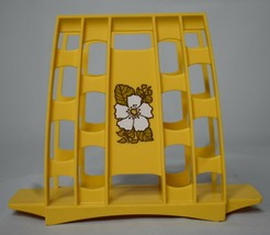 Mid-century Napkin Holder yellow gold with White Flower 6 in. tall x 7.5... - $11.87
