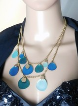 """Vintage Kenneth Cole New York Double Strand Disc Statement Necklace   18 1/2"""" - $17.86"""