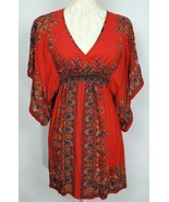 Angie Red MultiColor V Neck Kimono Short Sleeve Dress Womens Size XS - $18.58