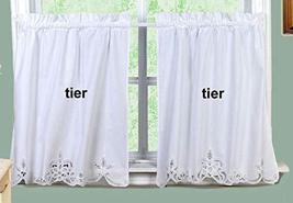 "Battenburg Lace Kitchen Curtain 30"" L Tiers White by Creative Linens - $59.38"