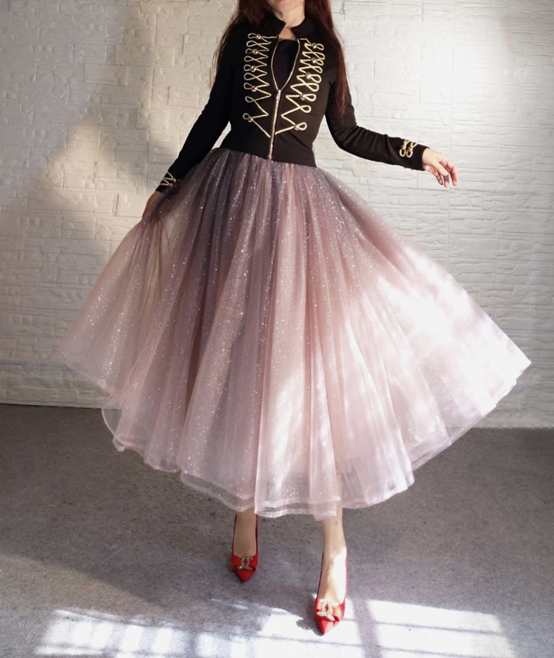 Rose Sparkle Tulle Skirt Long Tutu Glitter Skirt Rose Gold Sequin Party Outfit