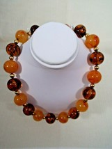 Signed Napier Vintage 18 Inch Gold Tone Faux Amber Ball and Bead Necklace - $119.99
