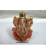Jet Rose Quartz India Lord Ganesha Antique Altar Statue Hindu Gemstone R... - $35.14