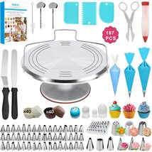 Cake Decorating Kits Supplies - 187Pcs Professional Birthday Cake Tools - $122.16