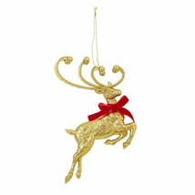 Reindeer Glitter Ornament Choose Red Or Gold - $3.00