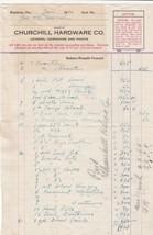 U.S. Churchill Hardware Co. Roseburg 1920 Long Detailed Paid Invoice Ref... - $7.55