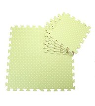 Interlocking Foam Mats EVA Foam Floor Mats (Denticle & 9 Tiles) Green Dot
