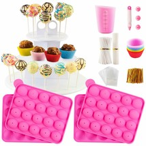 Cake Pop Maker Set with Silicone Molds with 3 Tier Cake Stand, Chocolate... - $85.13