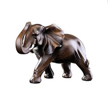 Feng Shui Elephant Statue Rosewood Color Wealth Lucky Figurine Office Ho... - $44.56