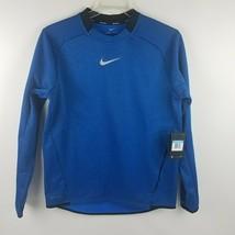 Nike Men Therma Golf Pullover Crew Top Shirt Blue Black 854491 433 MSRP $70 - $49.95