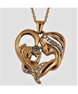 Mom  Mother and Child HEART Pendant Necklace 20 Inch Yellow Gold Stainless Steel - $36.29