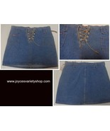 Women's Bubblegum Jean Mini Skirt NWT Leather Front Tie SZ 7/8 Made USA - $14.99