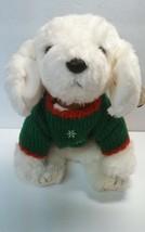 "14"" Ty Classic White Christmas Puppy Dog Fluff 2002 Stuffed Plush Animal - $10.69"
