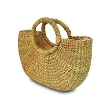 Handwoven Straw Tote Purse Bag, Boho Summer Beach Picnic Basket Natural ... - $33.99