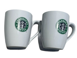 Lot of 2 STARBUCKS Coffee Tea Mug Cup Green Mermaid Logo 10.2 Oz. White ... - $19.79