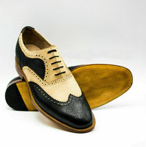 Handmade Men's Black &Yellow Wing Tip Brogues Slip Ons Dress Oxford Leather Shoe image 2