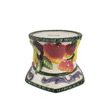 Fitz and Floyd Florentine Fruit Harvest Earthenware Pillar Candle Holder... - $17.99