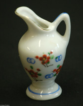 Vintage Mini Ceramic Pitcher w Cherry Blossom Design & Gold Trim Shadowbox Decor - $6.92