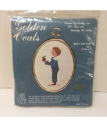 """Boy's Gift Oval Embroidery Kit 3"""" x 4"""" Crewel by Cathy - $8.79"""