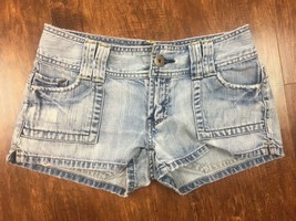 Women's American Eagle Distressed Jean Shorts Size 0 Flap Pockets Retro ... - $9.25