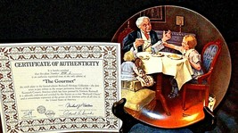 "1984 ""The Gourmet"" by Norman Rockwell Plate with Box ( Knowles ) AA20-CP2282 Vin image 2"
