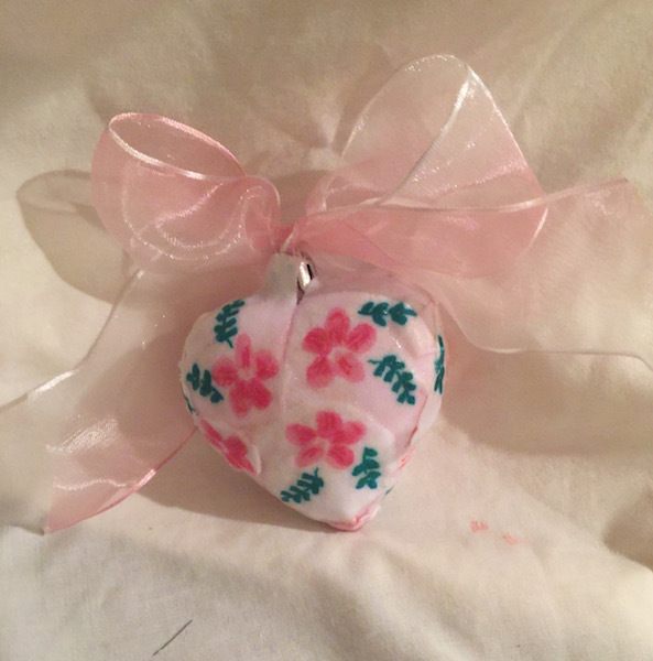 """Pink Flamingo and Flower Heart Ornament 3"""" Ribbon Bow"""