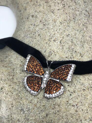 Vintage Genuine Garnet 925 Sterling Silver Butterfly Choker Necklace