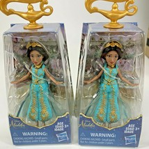 "2 Disney Collectible Princess Jasmine Small Doll in Teal Dress 3.5"" NEW - $12.86"