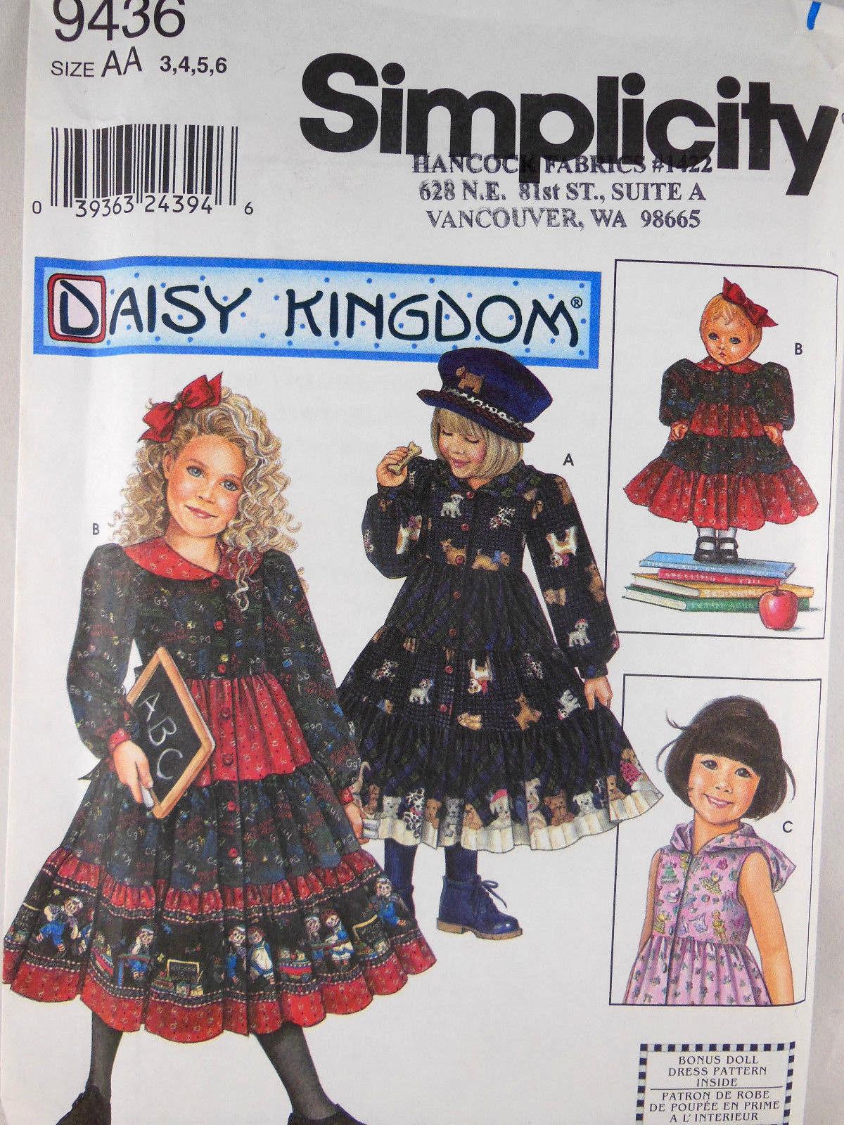 "DAISY KINGDOM girls & 18"" DOLL TIERED DRESS w Hood Pattern 9436 3 4 5 6 UNCUT FF - $5.53"