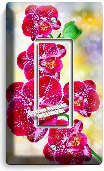 SPOTTED ORCHID FLOWERS 1 GFCI LIGHT SWITCH WALL PLATES FLORAL BEDROOM ROOM DECOR