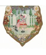 Vintage Valentine Card Girl and Dog Go to Market Carrington - $5.93