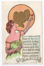 Pretty Lady Toasts Thanksgiving Turkey Vintage Postcard 1907 Rose Co Emb... - $4.99