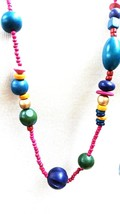 Wood Boho long Necklace Stained Color Beads Vintage - $17.99